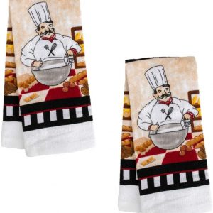 A&T Designs Set of 2 Classic Italian Chef Themed Kitchen Hand Dish Towels