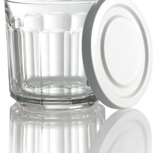 Arc International Luminarc Working Storage Jar/Dof Glass with White Lid, 14-Ounce, Set of 4 (H6812)