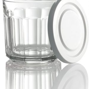 Arc International Luminarc Working Storage Jar/Dof Glass with White Lid, 14-Ounce, Set of 8