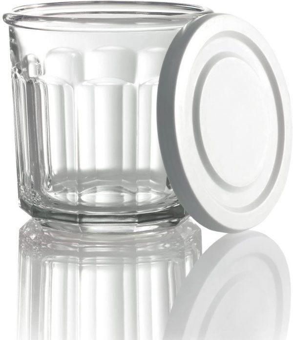 Arc International Luminarc Working Storage Jar/Dof Glass with White Lid, 14-Ounce, Set of 8